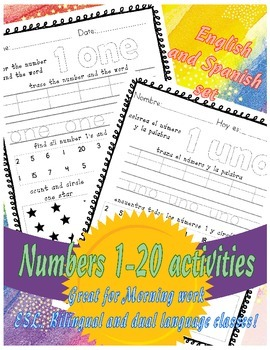Numbers 1-20 English and Spanish bundle sample