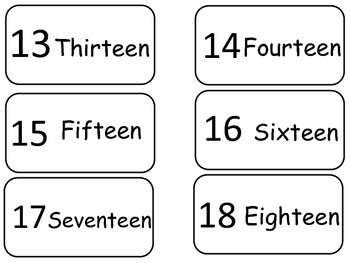 Numbers 1-20 Flash Cards. Preschool math numbers counting flash cards.