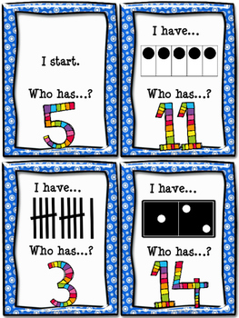 """Numbers 1-20 - Game """"I have... Who has...?"""""""