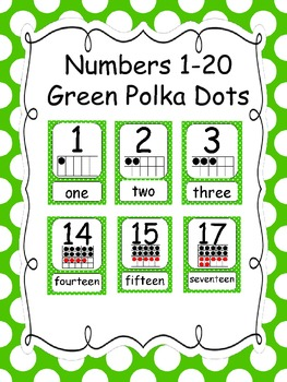 Numbers 1-20 Green Polka Dots