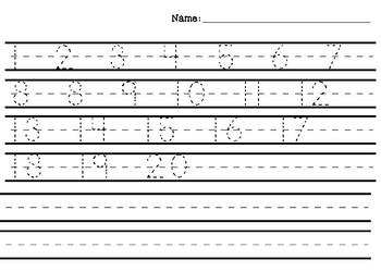 Numbers 1-20 Handwriting Practice