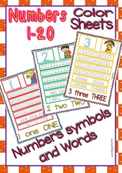 Numbers 1-20 Handwriting Sheets (B&W/Color)