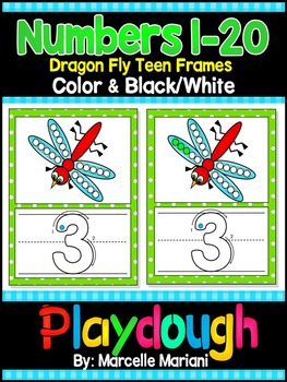 Numbers 1-20 Insects- Dragonfly NUMBERS PLAY DOUGH WORK MATS (1-20)