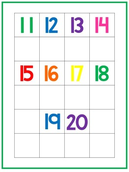 Numbers 1-20 Matching Work Mats.  Printable Preschool Curriculum Game