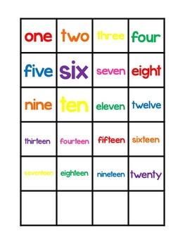 Numbers 1-20 Matching Work Mats.  Printable Preschool Curriculum Game