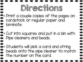 Numbers 1-20 Math Center