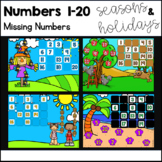 Numbers 1-20: Missing Numbers for Google Slides-Holidays a