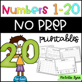 Numbers 1-20 No Prep Worksheets for Kindergarten