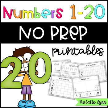 Numbers 1-20 No Prep Worksheets for Kindergarten
