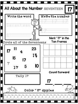 Numbers 1-20 No Prep Worksheets