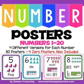 Numbers 1-20: Number Posters: 4 Versions with Ten Frame, T