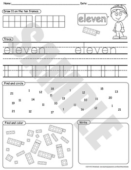 Number Sense - Numbers 1-20 Draw Trace Write