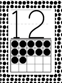 Numbers 0-20 Poster Set: Black and White Dot
