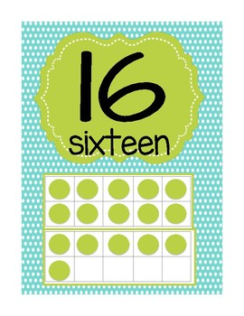 Numbers 1-20 Poster with Ten Frame