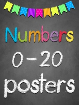 numbers 0 20 posters chalkboard theme by teresa tretbar tpt