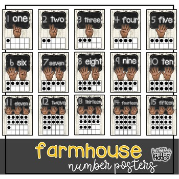 Numbers 1-20 Posters {Farmhouse Theme}