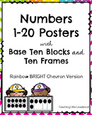 Numbers 1-20 Posters Rainbow Bright Chevron Version