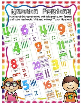 Numbers 1-20 Posters with Tally Marks, Ten Frames, Base Ten Blocks, Touch Dots