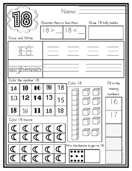 Numbers 1-20 Practice Pages