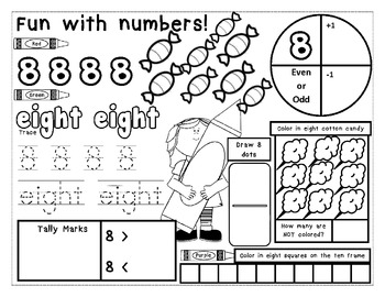 Numbers 1-20 Practice Pages with sweet candy theme: {Common Core Aligned}
