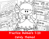Numbers 1-20 Practice Pages with sweet candy theme.