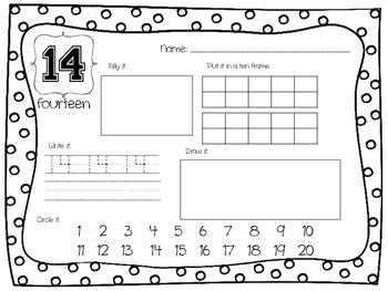 Numbers 1-20 Practice Worksheets  (K.CC.3, K.NBT.1)
