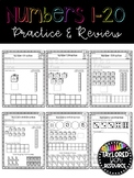 Numbers 1-20 Practice and Review Worksheets