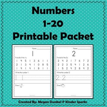 Numbers 1-20 Printable Packet
