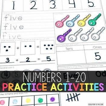 Writing Numbers 1-20 Worksheets