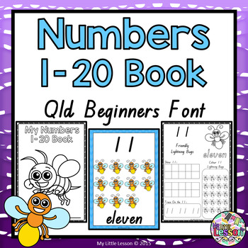 Numbers 1-20 QLD Beginners Font: Worksheets and Posters