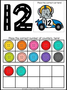 Numbers 1-20 Race Car Mats - Match and Count