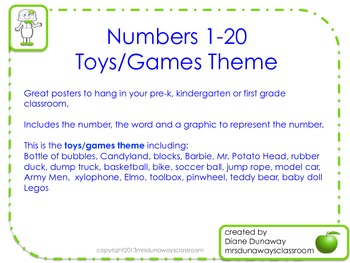 Numbers 1-20 (Toys/Games Theme)