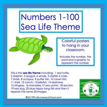 Numbers 1-50 (Sea Life Theme)