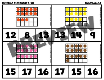 Numbers 1-20 Self-Correcting Clip Cards