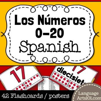 Numbers 1-20 Spanish | Números 1-20 español Posters