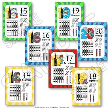 Numbers 1-20 Tens Frames Posters SUPERHERO Themed