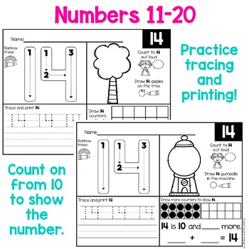 Numbers 1-20 Trace, Count, and Color Worksheets