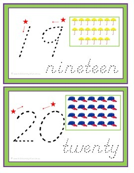Numbers 1-20 Traceable Cards - ABC Manuscript Print Font
