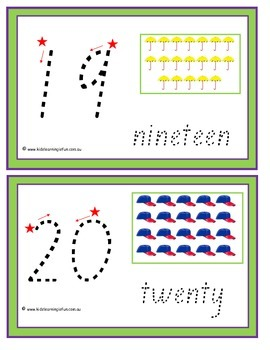 Numbers 1-20 Traceable Cards - New Zealand Font