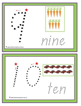Numbers 1-20 Traceable Cards - Queensland Font