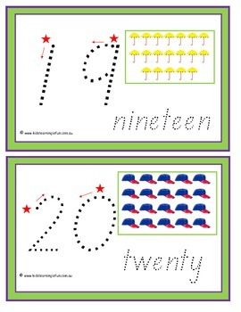 Numbers 1-20 Traceable Cards - Tasmanian Font