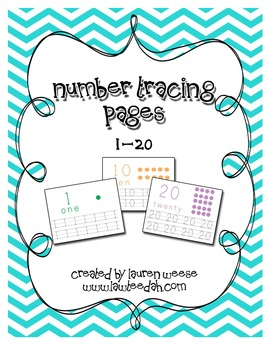 Numbers 1-20 Tracing Pages