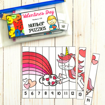 Numbers 1-20: Valentine Number Puzzles