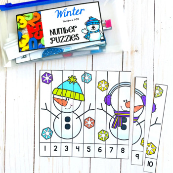 Numbers 1-20: Winter Number Puzzles