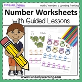Numbers 1-20 Worksheets with Guided Lessons (2 Writing Lines)