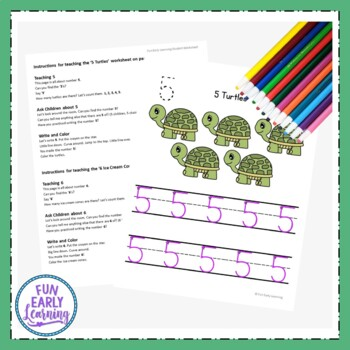 Numbers 1-20 Worksheets with Guided Lessons (3 Writing Lines)