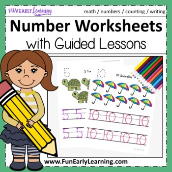 numbers 1 20 worksheets with guided lessons 3 writing lines tpt. Black Bedroom Furniture Sets. Home Design Ideas