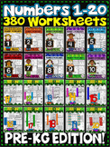Numbers 1-20 Worksheets-NO PREP- PRE-KG EDITION (380 WORKSHEETS)