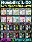 Number Worksheets (1-20)-MATH WORKSHEETS (PRE-KG & KG ) -671 worksheets BUNDLE