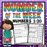Numbers  1-20 Worksheets: Number of the Week